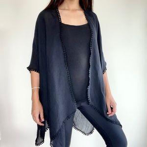 Anthropologie light linen black poncho / cover